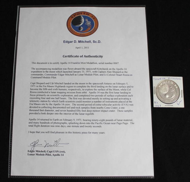 Edgar Mitchell's Flown Apollo 14 Silver Medallion