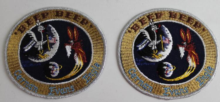 Two Apollo 14 'Beep Beep' Backup Crew Patches