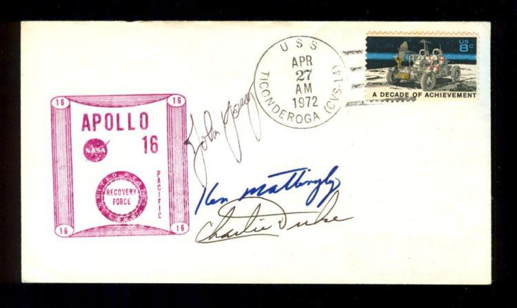 Apollo 16 Crew-Signed Recovery Cover