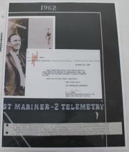 Mariner 2 Telemetry Strip on Certificate
