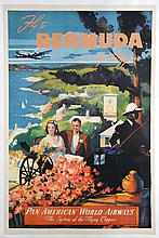 Fly to Bermuda by Clipper, Pan American World Airways Poster