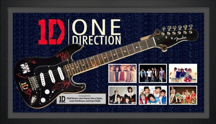One Direction Signed And Framed Guitar