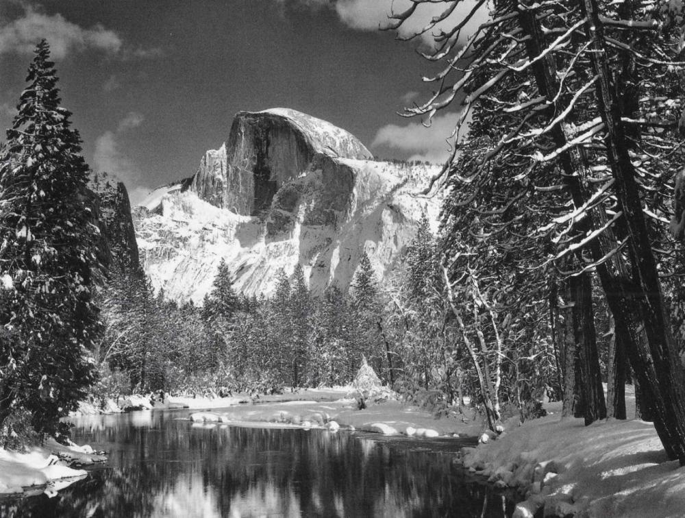 ANSEL ADAMS, HALF DOME MERCED RIVER WINTER 1938