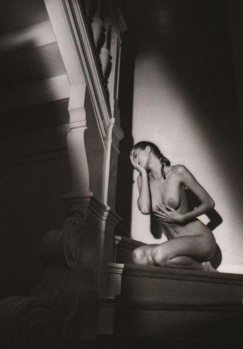 JEANLOUP SIEFF, NUDE ON STAIRS PARIS 1987