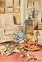 Portrait of the Artist's Son with a Dog and Toys, Olga Alexandrovna, Click for value