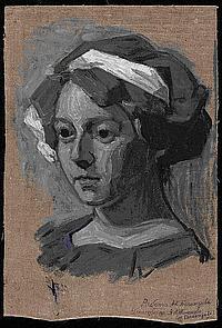 BOGOMAZOV, ALEKSANDR 1880-1930 Portrait of Vanda Monastyrskaya