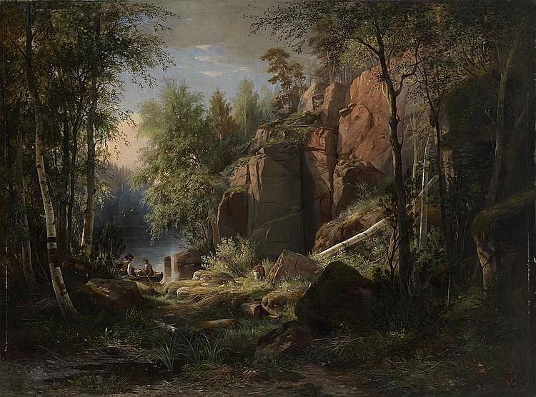 SHISHKIN, IVAN 1832-1898 View of Valaam Island. Kukko