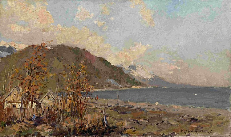 GERASIMOV, SERGEI 1885-1964 Cottages on the Shore