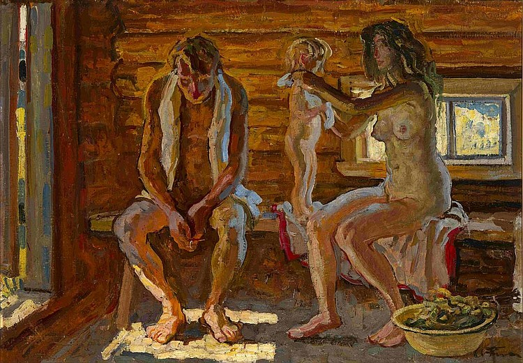 TKACHEV, SERGEI and TKACHEV, ALEKSEI B. 1922 and B. 1925 Russian Banya