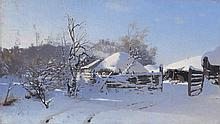 *DUBOVSKOY, NIKOLAI (1859-1918), Winter Scene in a Village