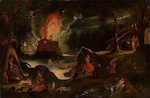 ATTRIBUTED TO JACOB ISAACSZ. VAN SWANENBURG (LEIDEN 1571-1638 UTRECHT) The Temptation of St Anthony,