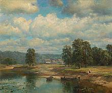 WELTZ, IVAN (1866-1926), By the River, signed.
