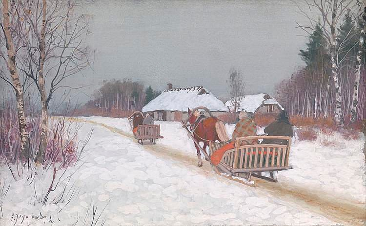* EGOROV, ANDREI (1878-1954), Winter Day, signed.