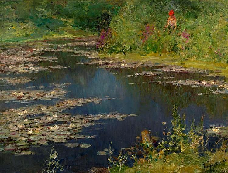 GLOUSCHENKO, NIKOLAI (1901-1977), By the Pond, signed.
