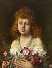 *HARLAMOFF, ALEXEI (1840-1925) Auburn Haired Girl Holding Red Roses