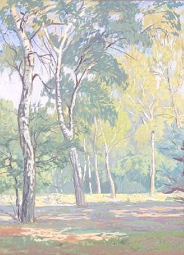 LATRI, MIKHAIL 1875-1942 Birch Forest signed and inscribed, gouache on paper, 63 by 49 cm.