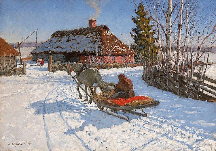 EGOROV, ANDREI (1878-1954) Winter Scene with