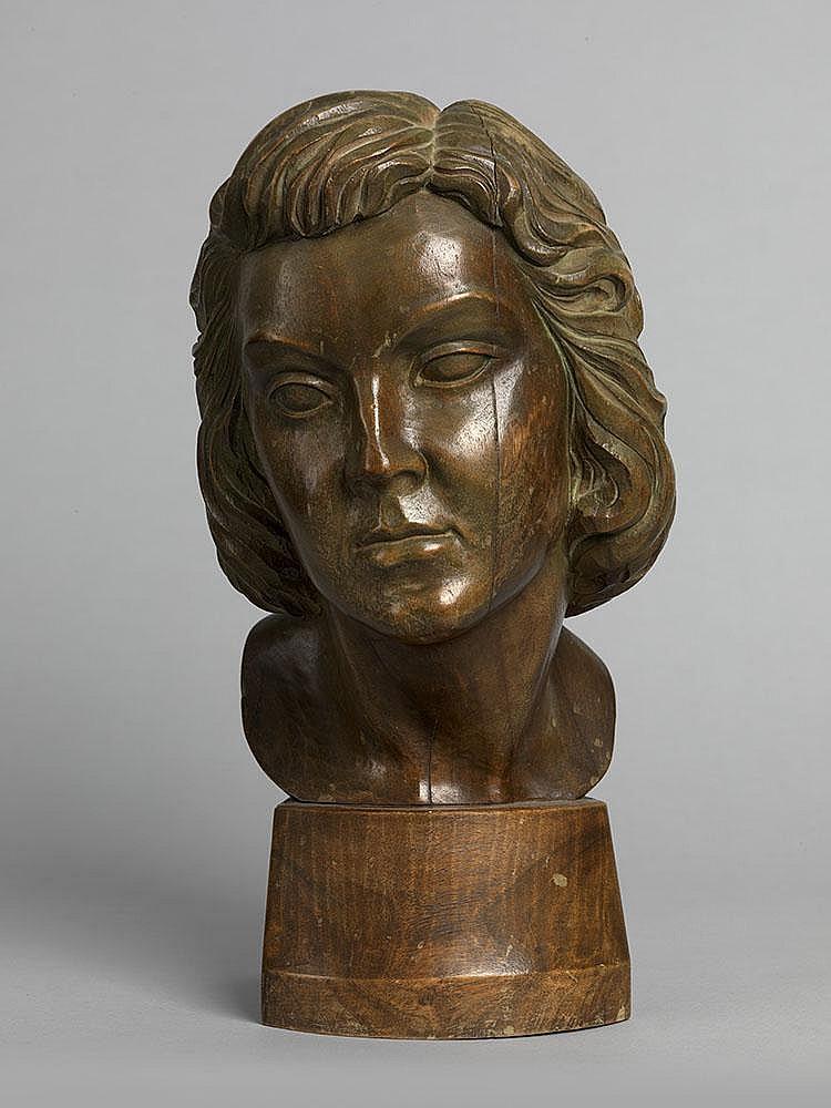 MUKHINA, VERA Years: 1889-1953 Self-Portraitcarved