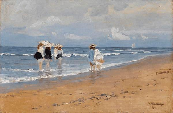 STOLITSA, EVGENI (1870-1929) - Girls Paddling at the Seaside
