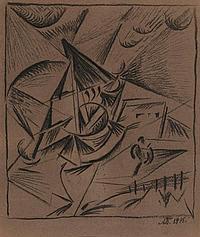 * BOGOMAZOV, ALEKSANDR (1880-1930) - Landscape with a Boat