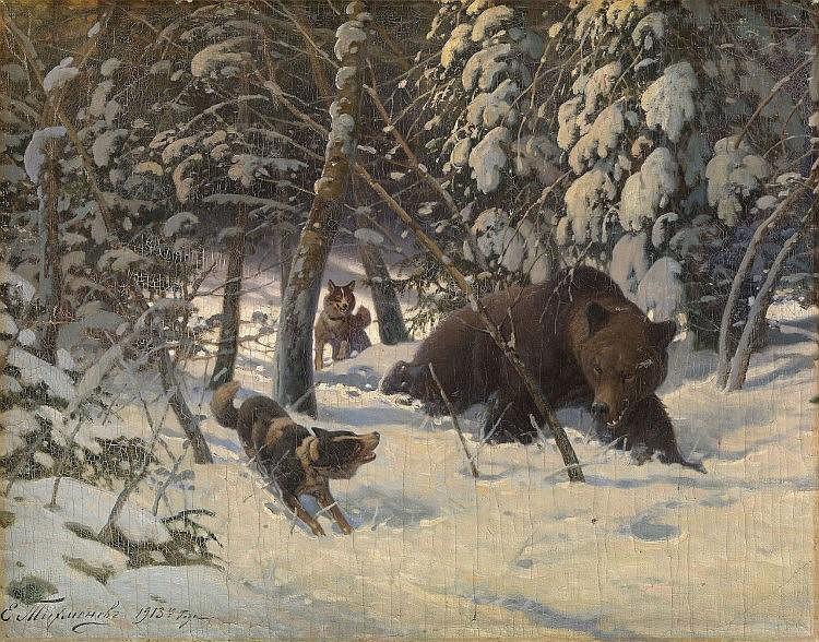 * TIKHMENEV, EVGENY (1869-1934) Bear Hunt , signed
