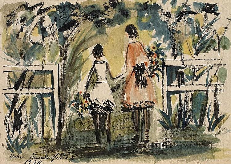 GILDEBRANDT, OLGA 1897-1980 Two Girls