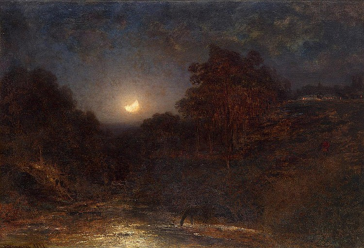 BOGOLIUBOV, ALEXEI 1824-1896 Moonlit Night signed