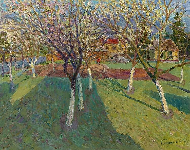 * GLOUSCHENKO, NIKOLAI (1901-1977) Bird Cherries in Bloom in the Carpathians