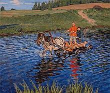* BOGDANOV-BELSKY, NIKOLAI (1868-1945) Crossing the River