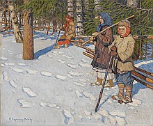 BOGDANOV-BELSKY, NIKOLAI (1868-1945) Children in a Wintry Forest