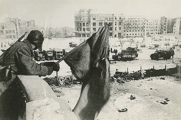 RIUMKIN, YAKOV (1913-1986)  Red Flag in the Centre of Stalingrad. Victory Day