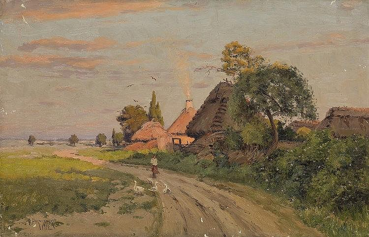 RIZNICHENKO, FEODOR - (1865-1922)  Girl with Geese on a Village Road