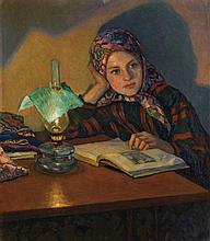 BOGDANOV-BELSKY, NIKOLAI - (1868-1945) Reading Girl