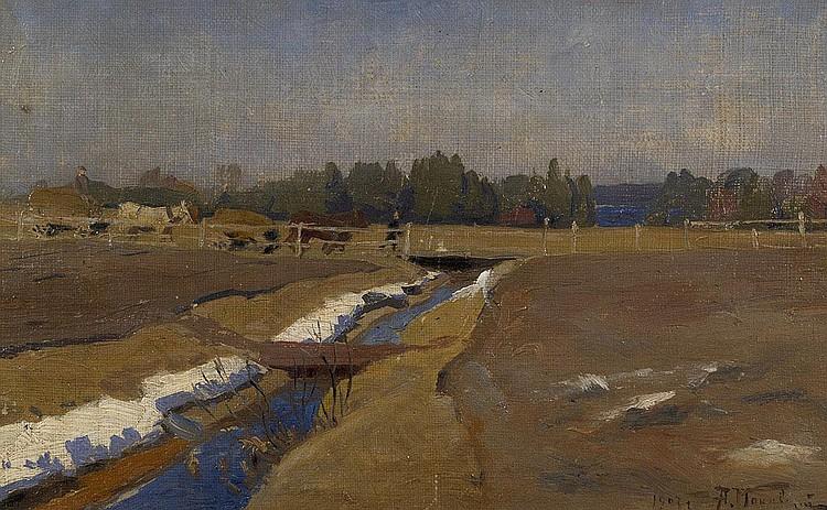 MAKOVSKY, ALEXANDR 1869-1924 Road over a Spring