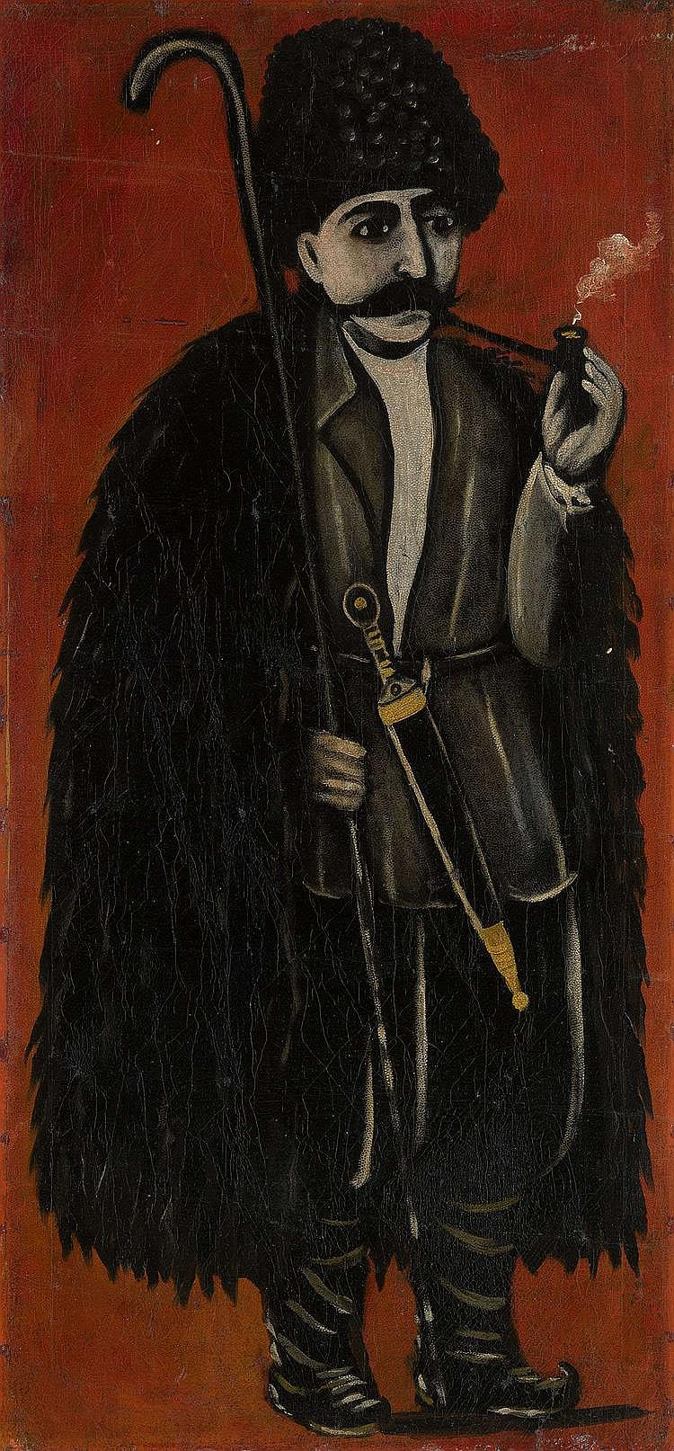 PIROSMANI, NIKO (1863-1918) Shepherd in a Felt Cloak against a Red Background.