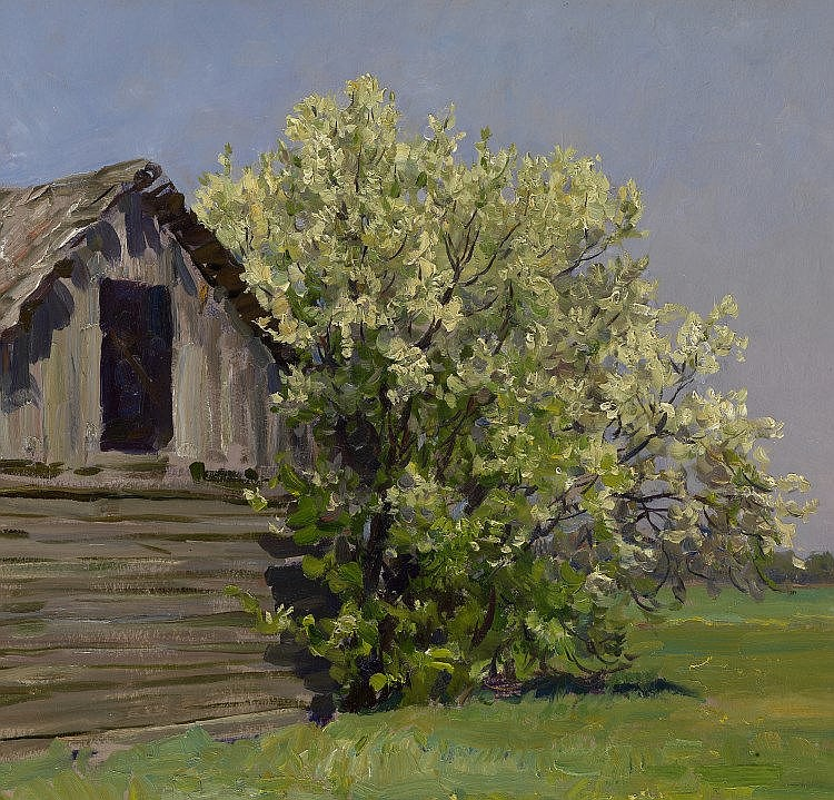 * KUGACH, YURIY (1917-2013) An Old Barn with a Bird Cherry Tree