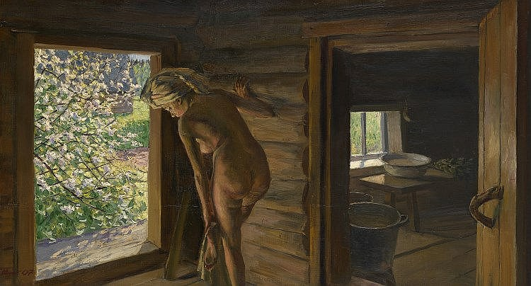 * CHAINIKOV, GRIGORY (1960-2008) Woman Wiping Her Feet