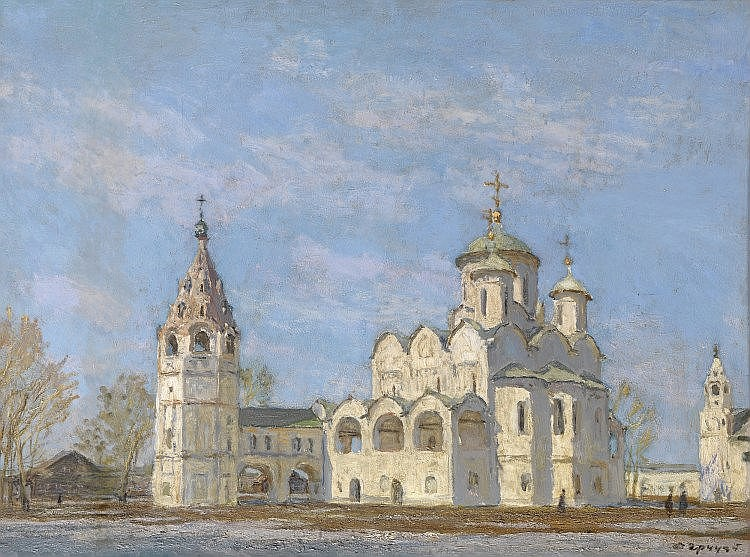* GRITSAI, ALEXEI (1914-1998) Pokrovsky Cathedral with a Bell Tower. Suzdal