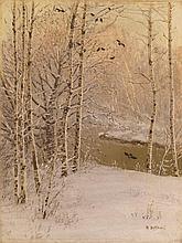 * DUBOVSKOY, NIKOLAI (1859-1918) River Running through a Wintry Forest