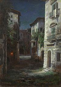WELTZ, IVAN (1866-1926) - Moonlit Italian Street
