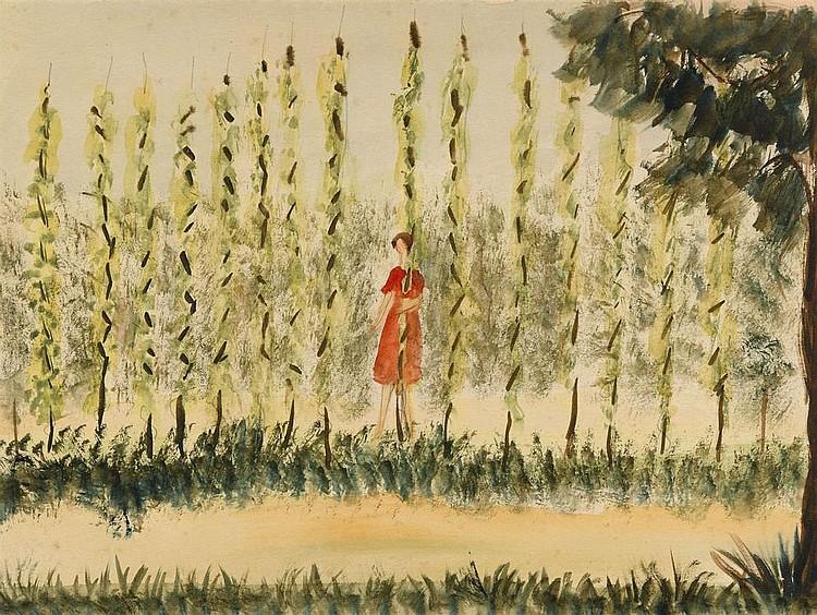 GILDEBRANDT, OLGA 1897-1980 Girl in a Red Dress