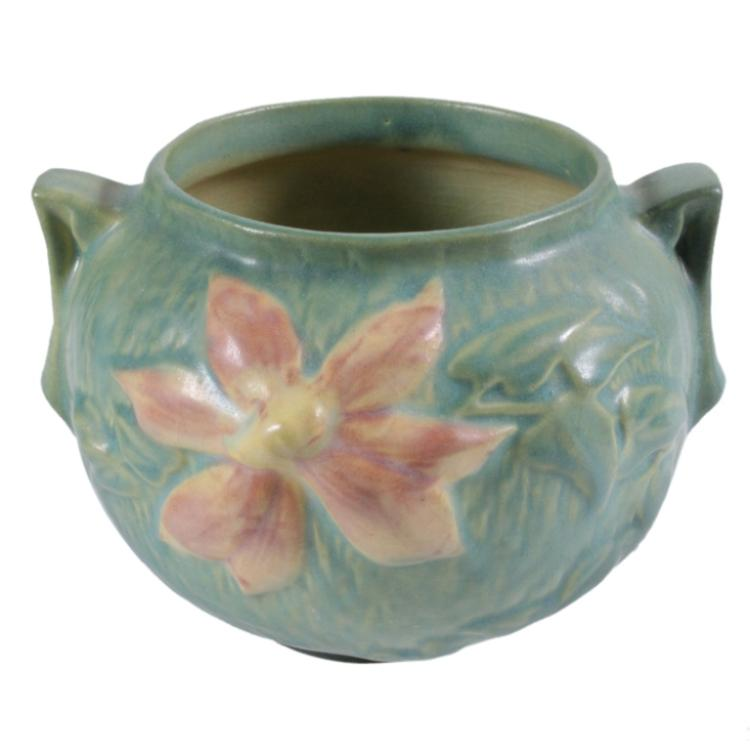 Roseville clematis green jardiniere pottery for Jardinier 78