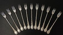 11 Wallace Silver Louvre Pattern Oyster Forks