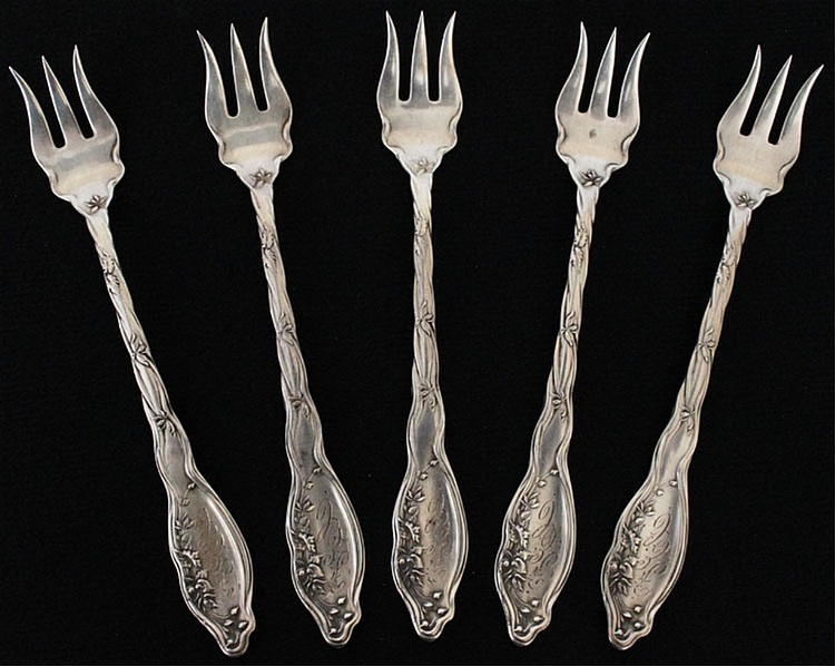 5 International Silver Mille Fleurs Oyster Forks