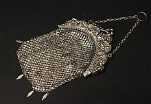Large German Silver Mesh Purse
