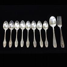 Vintage Lot of 10 Silver Plate & Ercuis Flateware