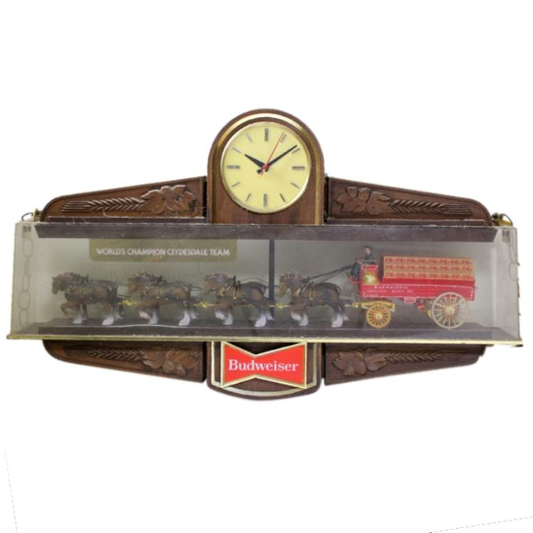Budweiser Clydesdale Horse Pool Table Clock Sign