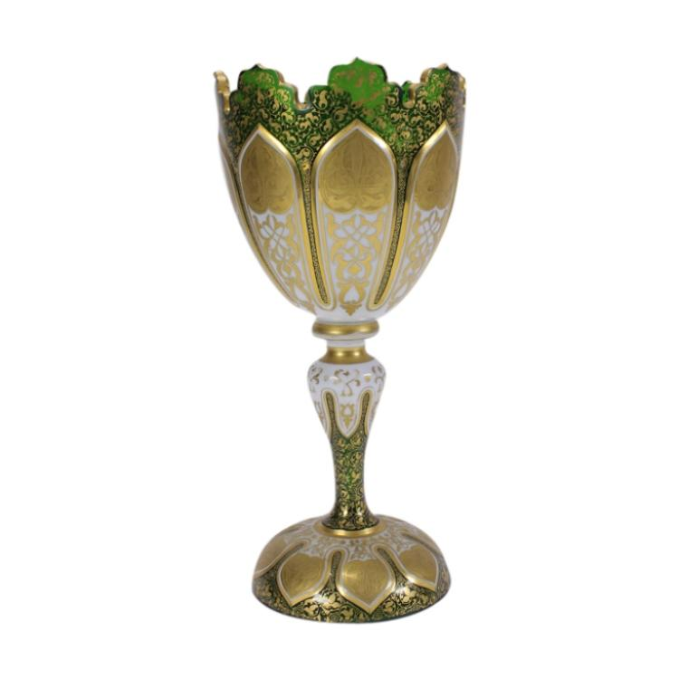 Bohemian Czech Emerald Green Cut Art Glass Chalice