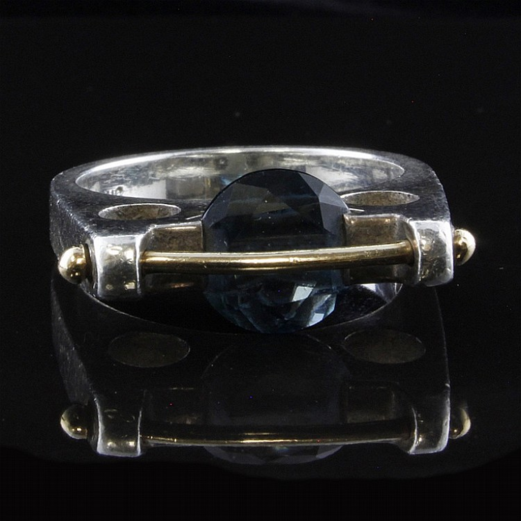 Modernist Style Ring with Blue Topaz in Sterling