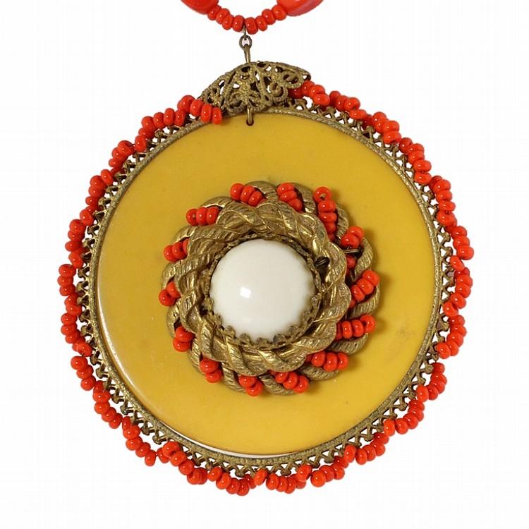 Vintage Miriam Haskell Bakelite & Bead Necklace